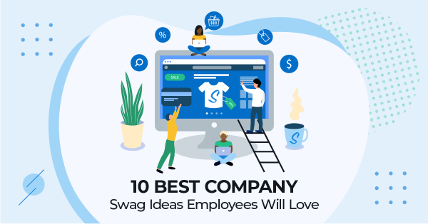 Graphic animation of employees choosing their Company Swag
