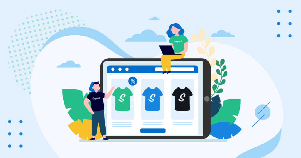 Icon graphic image of employees choosing their swag