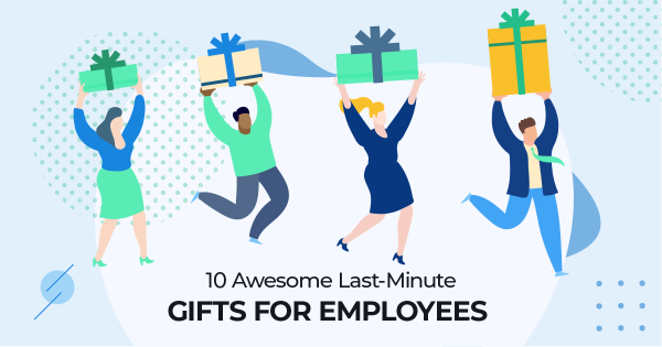 Icon graphic of people at an office giving gifts to employees.