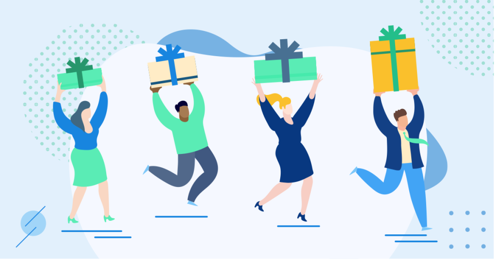 Icon graphic of people at an office giving gifts to employees