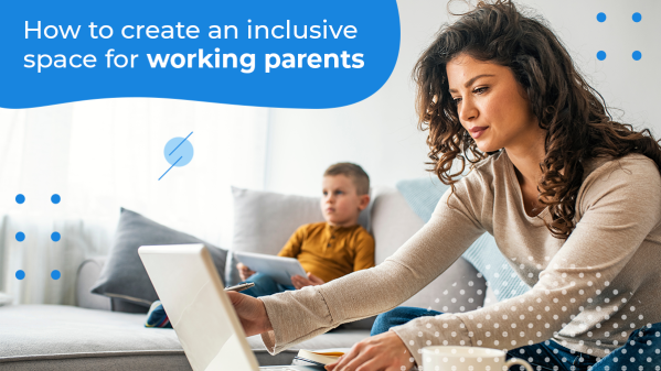 Mom working from home with her child using her benefits of working parents.