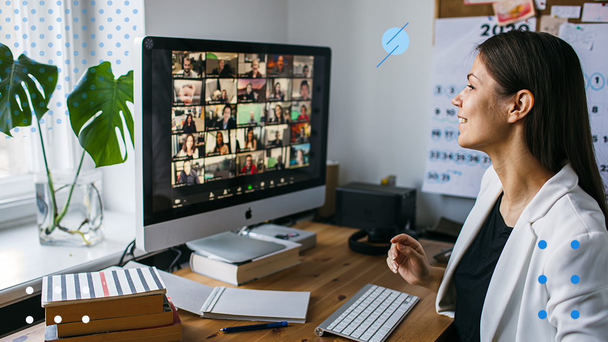 Woman participating in a video conference call using the best communication tools for teams