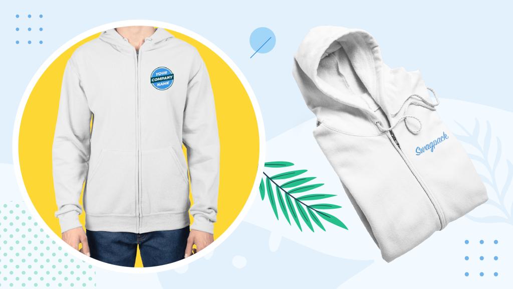 Summer swag apparel. Man wearing a corporate branded zip-front hoodie.