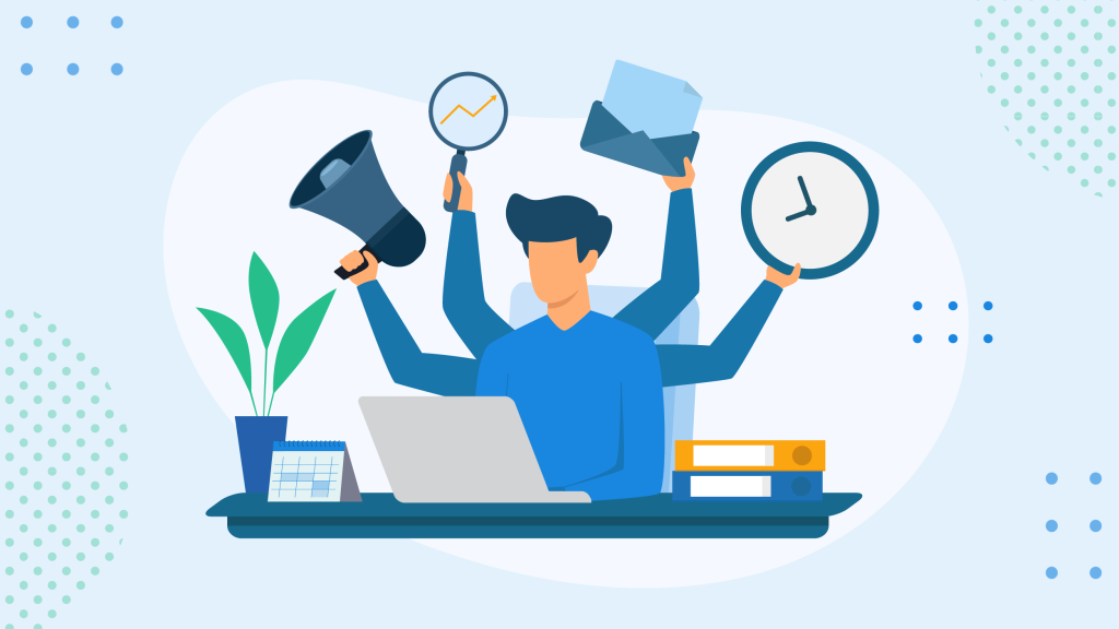 Graphic of an employee with extra hands multitasking, one of the things to avoid to improve time and workload management skills.