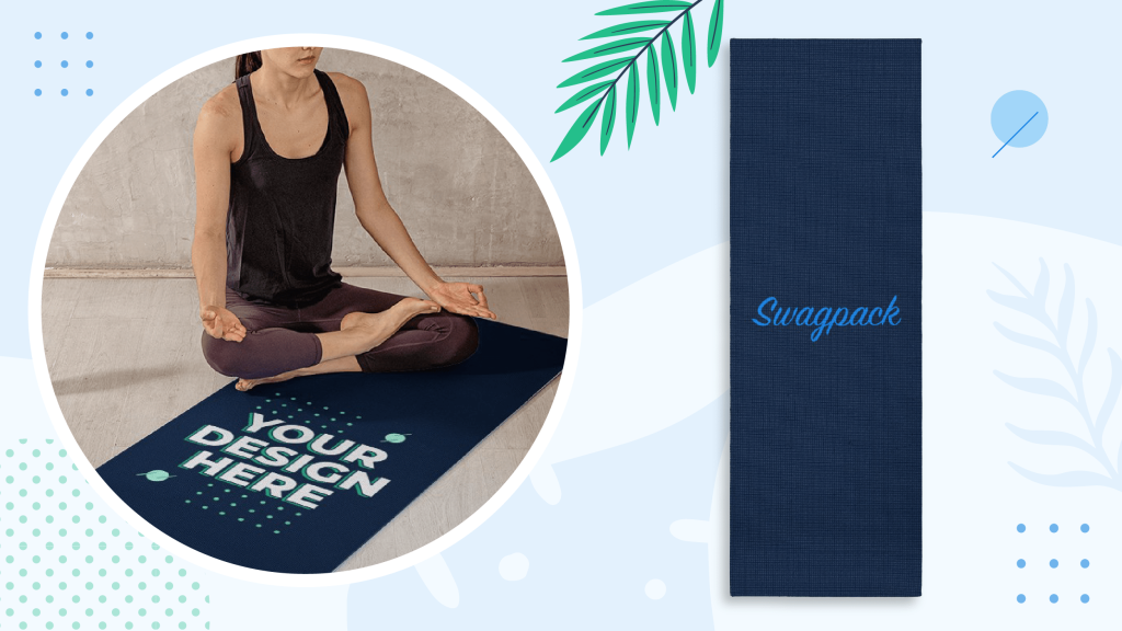 Woman stretching over a custom branded yoga mat, great workout swag to exercise with and unwind.